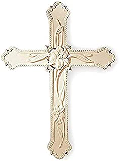 Lenox Classic Ivory Lily Hanging Wall Cross Sculpture 8.75