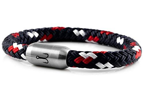 """Fischers Fritze® Segeltau Armband MAKRELE 2.0\"""" Blau Rot Weiß, 22.0"""