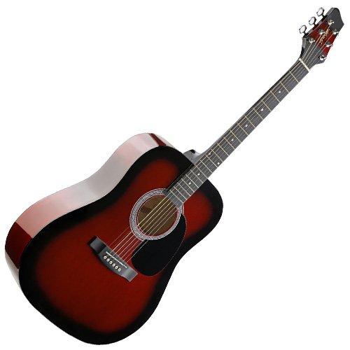 Stagg SW201RDS - Guitarra acústica con cuerdas metálicas (tipo dreadnought), color rojo