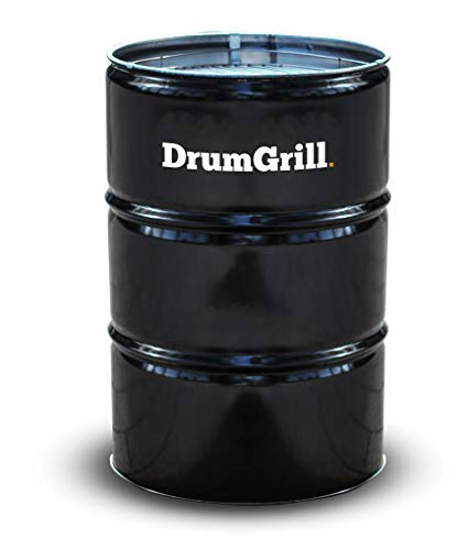 DrumGrill Big 200L Multifunctional Steel Oil Barrel BBQ Charcoal Grill, Fire Pit, Outdoor Furniture. Lightweight Barbecue Grill for Picnic, Camping, Garden & Beach Party. Black