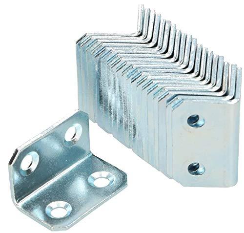 KOTARBAU Winkelverbinder 18 x 18 x 30 mm Stahl Bauwinkel Montagelöcher Möbelwinkel Verzinkt Schwerlast Holzverbinder Montagewinkel Stuhlwinkel (100)