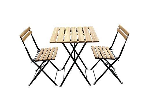 OUTFLEXX Romania Balkonset, Black/Natur, Stahl/Akazie, Tisch 60x60cm, 2 Stühle, klappbar