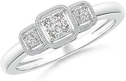Cushion Framed Composite Diamond Art Ring Promise Deco 1.5mm Ranking Milwaukee Mall TOP9 Di