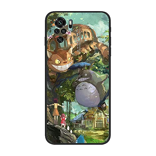 BAMANER Case for XIAOMI Redmi Note 10 4G/Note 10S, Studio-Ghibli Totoro-Tonari 7 Black TPU Matte Coque Fit Flexible Ultra Thin