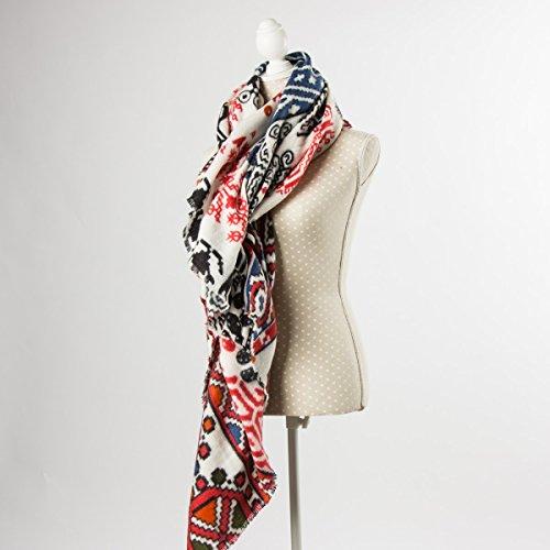 My Hailys gebreide sjaal LUCY rood wit blauw 140x140cm