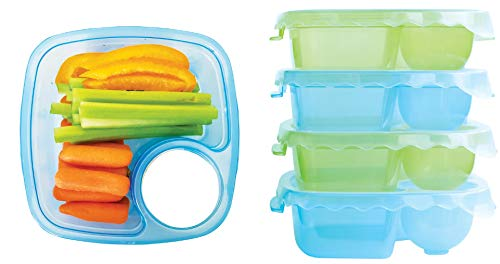 Tovla Lunch and Snack Containers - 5 Colorful Plastic Meal Prep Bento Boxes with Sauce Compartment - Containers for Adults, Kids & Toddlers - Microwave, Dishwasher & Freezer Safe Tupperware