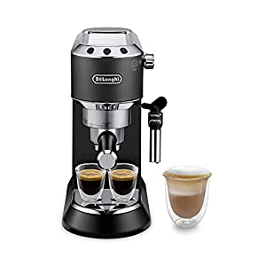 De'longhi Dedica - Cafetera de Bomba de Acero Inoxidable para Café Molido o Monodosis, Cafetera para Espresso y Cappuccino, Depósito de 1.3 Litros, Sistema Anti-goteo, EC685.BK, Negro