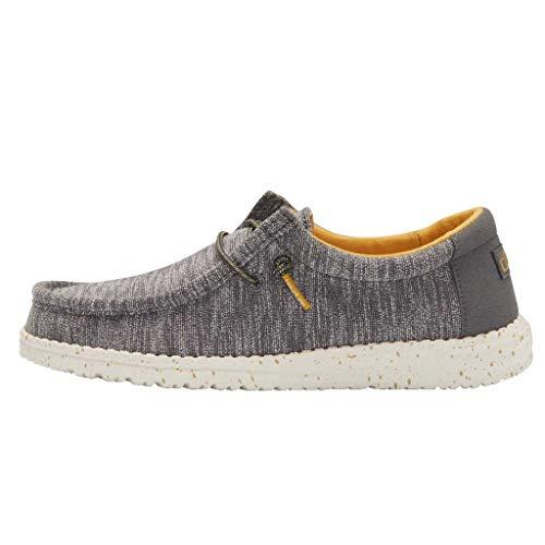Hey Dude Wally - Zapatos para niños, ligeros, cómodos, para niños, estilo mocasín, plantilla ergonómica de espuma viscoelástica, diseñada en Italia y California, color Gris, talla 39 1/3 EU