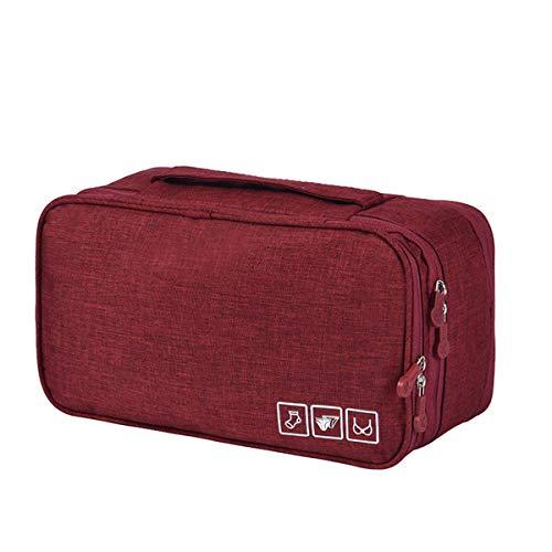 ZHONYEE - Bolsa organizadora de Viaje para Sujetador, Bolsa de Ropa Interior para Viajes, lencería, Tela, Rojo, Small