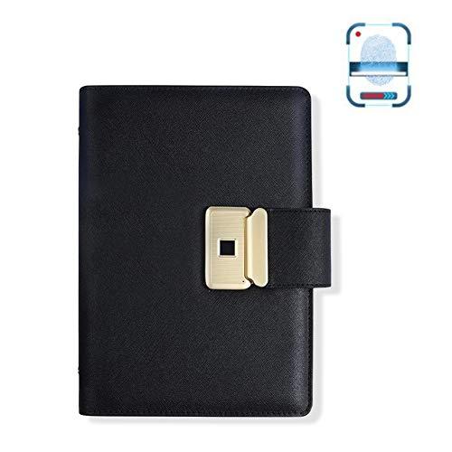 Smart Business Elektronische vingerafdrukvergrendeling Notebook, USB Pocket Personal Diary Planner Diary Organizer, cadeau voor volwassenen Mannen Vrouwen Teen,Black
