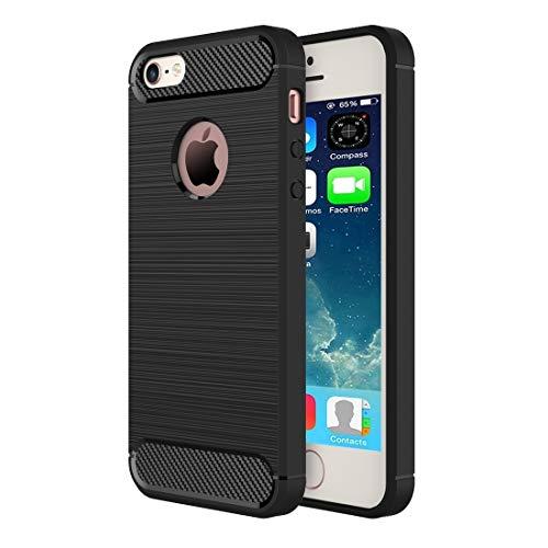 Wdckxy - Funda protectora para iPhone SE, 5S y 5, textura cepillada de fibra de poliuretano termoplástico resistente, color negro