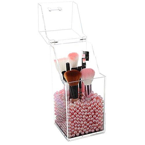 SLHP Organiseur de Maquillage Rotatif à 360 degrés réglable en Acrylique, Cristal de Bijoux, parfums, présentoir de la boîte de Rangement de Grande capacité Perle Rose