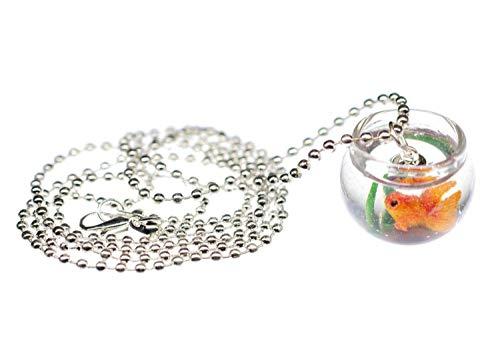 Miniblings Goldfisch im Glas Goldfischglas Kette Halskette 80cm Aquarium Fisch - Handmade Modeschmuck - Kugelkette versilbert