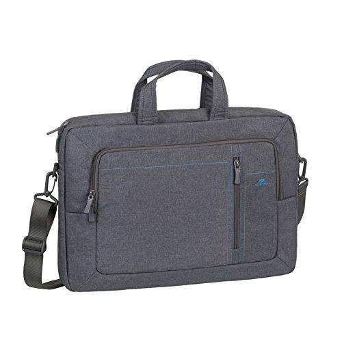 Rivacase 2in1 Rucksack-Tasche – Umhängetasche wandelbar in einen Rucksack – wasserfester Rucksack mit Laptopfach (16 Zoll) – Laptoptasche aus robustem Polyester – grau