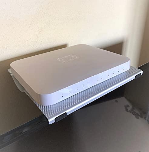 Supporto a mensola porta modem Wi-FI - decoder DVBT2 -casse acustiche e altro ancora, da posizionare sopra al tv, realizzato in alluminio dim cm. 21x23 -made in Italy tecnidea DEC1