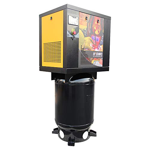 HPDMC 4 KW 5.5 HP Rotary Screw Air Compressor 15cfm@125psi with 60 Vertical Gallon Air Tank Mounted 230V/60HZ/1-Phase Industrial Air Compressed System