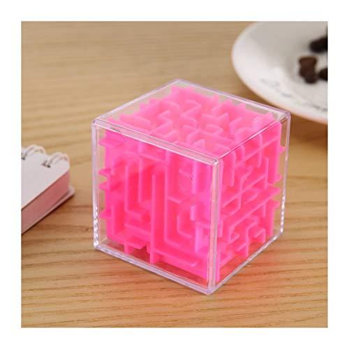 YYCH Juegos de Rompecabezas Laberinto Cubo Transparente de Seis Lados de Juguetes educativos Estera de Rompecabezas (Color : Pink)