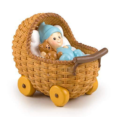 Mopec y781.3–Figur Kuchen Spardose Kinderwagen, 15,5x 13x 10cm, blau