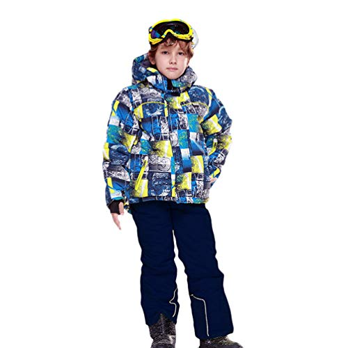 Lvguang Kind Berg wasserdichte Kapuzen Skijacke Winddicht Warme Winterregen Schneejacke Wear & Ski Pants (Blau#1, Asia XL)
