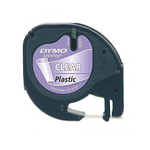 Dymo Authentisch Kunststoffetiketten LetraTag, 12 mm x 4 m, schwarz auf transparent, für Dymo LetraTag Etikettendrucker