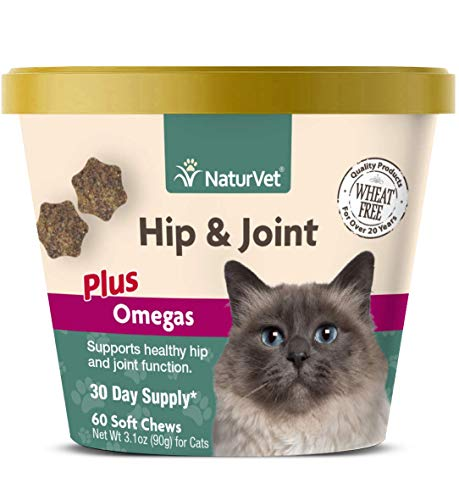 NaturVet – Hemp Joint Health for Cats – 60 Soft Chews – Supports Healthy Hips & Joints – Enhanced with Glucosamine, MSM…
