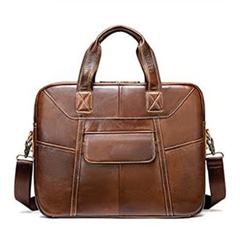 GUANYUA Bolsos de Cuero para Hombres, Calzoncillos de Negocios, Bolsas de computadora, Bolsas diagonales del Hombro brown-15in