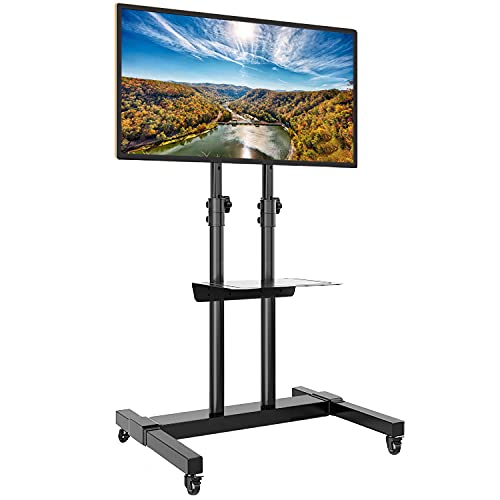 Rfiver Mobile TV Stand Rolling Cart with Tilt Mount/Locking Wheels for 37-80Inch Flat Screen/Curved TVs up to 110lbs, Portable Floor Stand with Laptop Shelf, Height Adjustable, Extra Tall