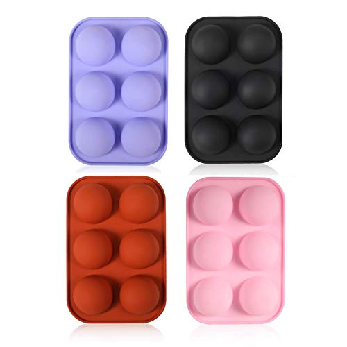 Emfure 4 Pack Hot Chocolate Bomb Molds, 6 Cavity Medium Semi Sphere Silicone Molds for Baking, Cocoa, Cake, Jelly, Dome Mousse Half Sphere Silicone Baking Molds DIY Cake Molds Baking Tools