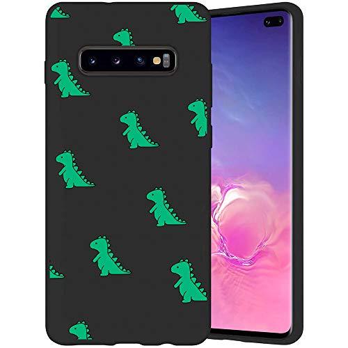 JOYLAND Cute Green Dinosaur Phone Case Cover for Samsung Galaxy S9 Cartoon Case Slim fit Flexible Matte Phone Cover Black Cell Phone Case Shell 1 Compatible for Samsung Galaxy S9