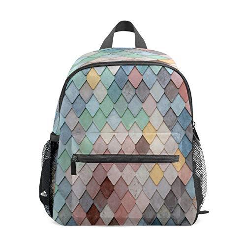 Kinder-Rucksack für Vorschule, für Jungen und Mädchen, leicht, für 1–6 Jahre, perfekter Rucksack für Kleinkinder im Kindergarten, bunt, Meeresfisch, Meerjungfrauenschuppe, Wand