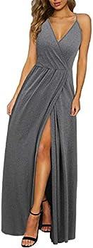 II ININ Women's Deep V-Neck Solid Split Maxi Dress