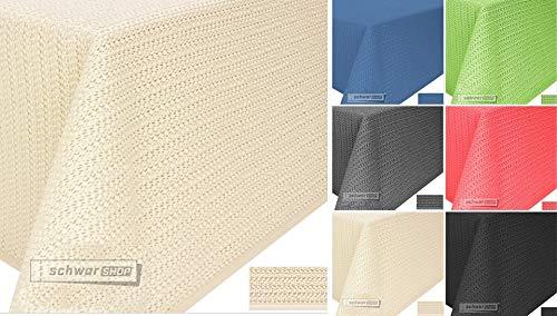Zwa, textiel tuintafelkleed, tafelkleed, zacht schuimmateriaal, antislip, weerbestendig, 6 kleuren 130x220cm eckig beige