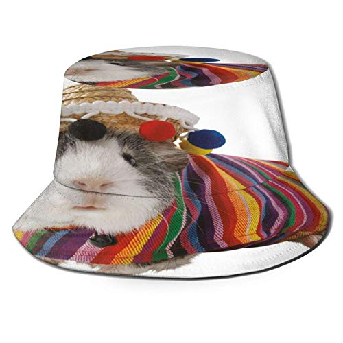 Conejillo de Indias con Disfraz de Halloween Sombrero de Cubo Unisex Gorra de Verano al Aire Libre Sombreros de Sol Plegables para Senderismo Deportes de Playa Negro