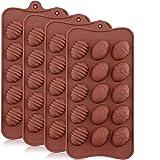 INTVN Lot de 4 Moule de Gâteau de Silicone 3D de Pâques de pour 15 Oeufs/Chocolats Petits Gâteaux/Tartelettes 22x10.5cm