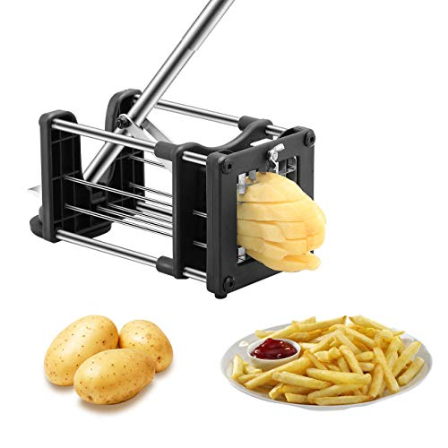 Meshist French Fry Cutter Potato Chipper with 2 Interchangeable Stainless Steel Blades, Vegetable...