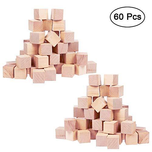 Kurtzy 60 Piezas Cubos de Madera Lisos Sin Acabar - 2 x 2cm Set Cubos Pequeños...
