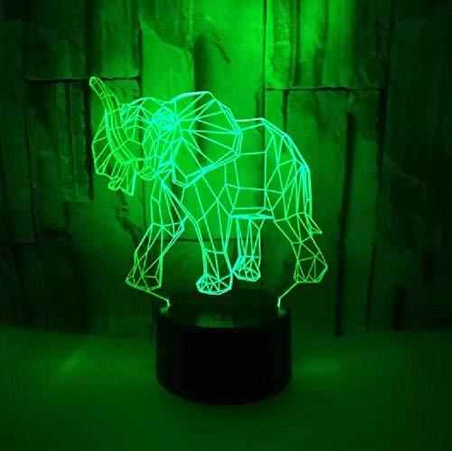 Elefante Colorido 3D Pequeña Lámpara De Noche Colorido Toque 3D Accesorios De Iluminación Regalo Para Luces De Habitación De Bebé