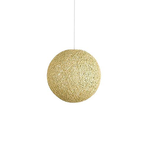 Yxsd Modern Cream Beige Lattice Wicker Rattan Globe Ball Style Ceiling Pendant Light Lampshade Chandeliers Hanging Lamp Shades Simple Fixture for Home Restaurant Bar (Size : D:20CM)