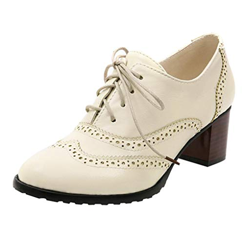 UOKNICE Fashion Women' Lace Up Hollow Shoes Oxford Shallow Mouth Single Shoes Block Heel Shoes(Beige, CN 42(US 8.5))