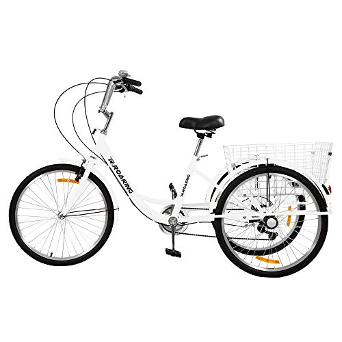 R.ROARING Adult Tricycles 7 Speed, Adult Trikes 24inch 3 Wheel Bikes, Three-Wheeled Bicycles Cruise Trike with Shopping Basket for Seniors, Women, Men, White
