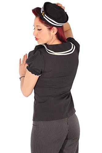 SugarShock Retro Matrosen Uniform Rockabilly Sailor Matrosenhut Anker Mütze