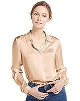 LilySilk Women's 100 Silk Blouse Long Sleeve Lady Shirt 22 Momme Charmeuse Silk Light Camel M/8-10