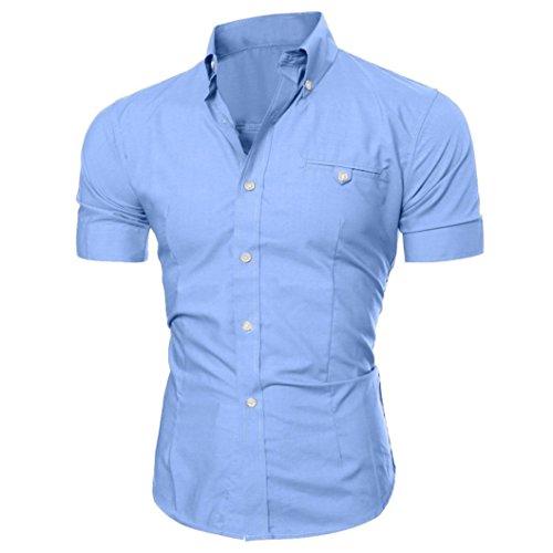 Camisa de vestir de negocios de los hombres de lujo Slim Fit manga corta Casual solapa botón Tops, Moderno / Equipada, M, Azul claro