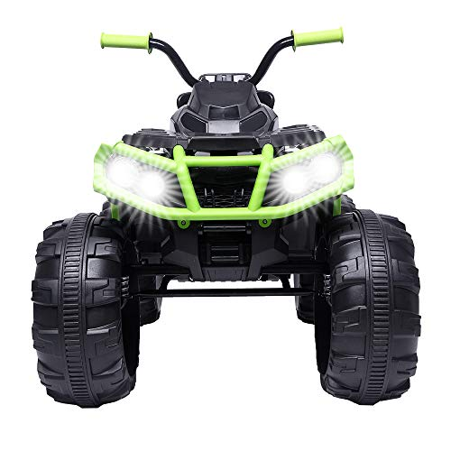 VALUE BOX Kids ATV 4 Wheeler Ride On Quad 12V Battery Powered Electric ATV Realistic Toy Car with 2 Speeds, Easy Button, Music, Built-in USB, Spring Suspension, LED Lights and Horns (Black Green)
