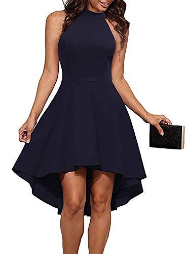 Clearlove Damen Abendkleid Ärmellos Cocktailkleid Neckholder Brautjungfernkleid Elegant Asymmetrisches Partykleid, Navy, XL