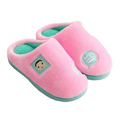 Famille d'hiver et chaleureux Chaussures Indoor Maison Enfant Slipper, Rose