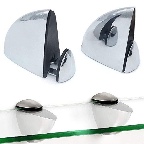 Juego de 2 abrazaderas de vidrio , soporte de estante de madera/vidrio, soportes de madera con soporte de vidrio, clip con forma de boca de pez, abrazadera ajustable de espesor de 3-16 mm