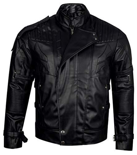 Guardians of The Galaxy Vol.2 Star Lord Chris Pratt Black Genuine Leather Jacket
