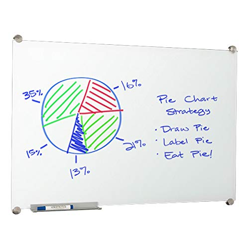 Learniture 4'x6' Glass Dry Erase Board w/ Marker Tray, Magnetic White LNT-MGB-4872-WH-SO