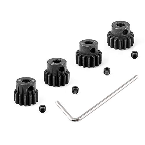 HobbyPark Metal Steel Mod 1 Pinion Gear Set 5mm Shaft Hole 13T 14T 15T 16T Motor Gears Kit for RC Car (4-Pack)